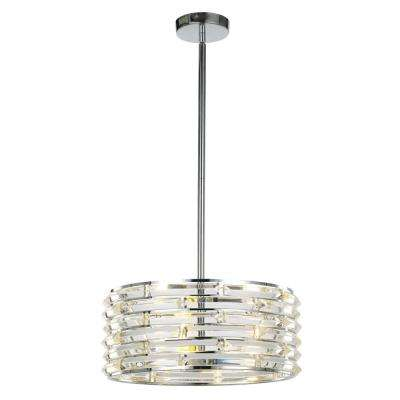 Avant 3-Light Curved Crystal and Chrome Pendant