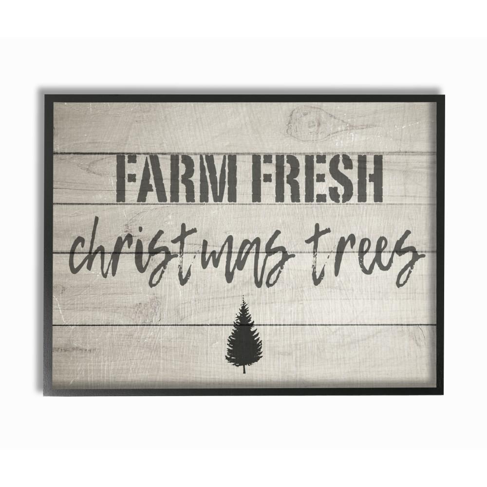 Farm Fresh Christmas Trees.11 In X 14 In Farm Fresh Christmas Trees Vintage Sign By Daphne Polselli Wood Framed Wall Art