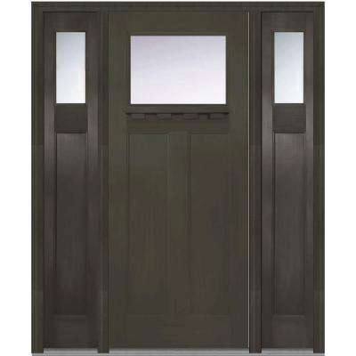 64 in. x 80 in. Left-Hand Craftsman 1/4 Lite Classic Stained Fiberglass Fir Prehung Front Door with Shelf and Sidelites