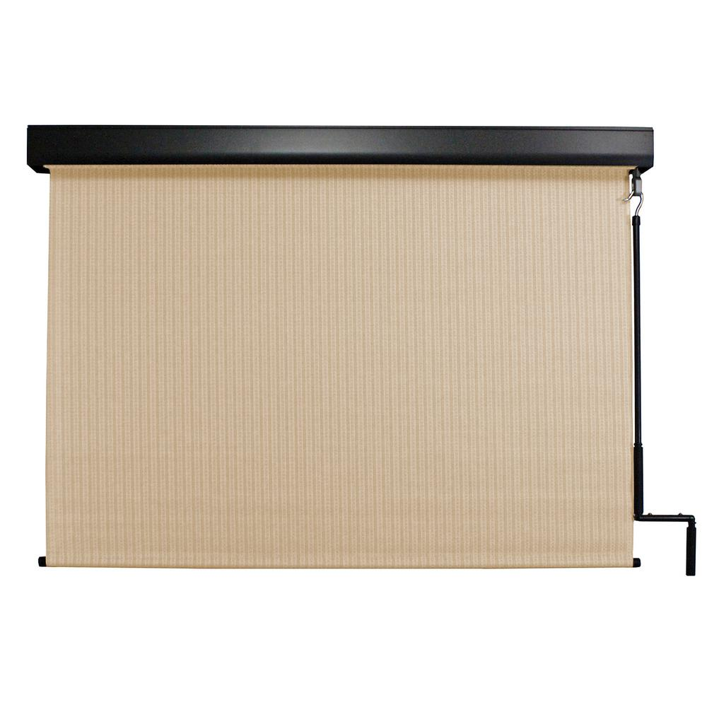 Seasun Premium Pvc Fabric Exterior Roller Shade Cordless Crank Operated With Protective Valance
