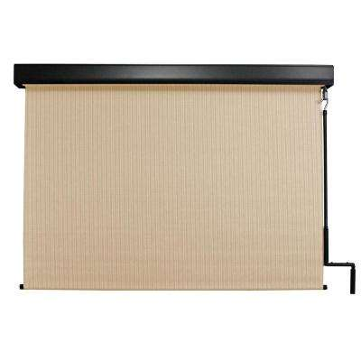 Premium PVC Fabric Exterior Roller Shade Cordless Crank Operated with Protective Valance - 120 in. W x 96 in. L