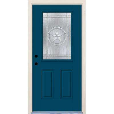 36 in.x80 in.Right-Hand 1/2 Lite Texas Star Decorative Glass Atlantis Painted Fiberglass Prehung FrontDoor w/ Brickmould