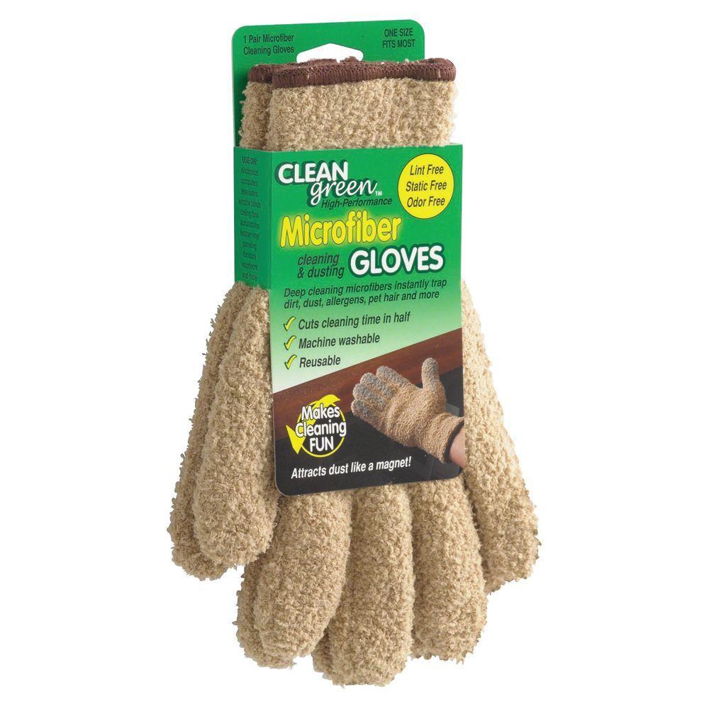 Caster Clean Green Microfiber Dusting Gloves