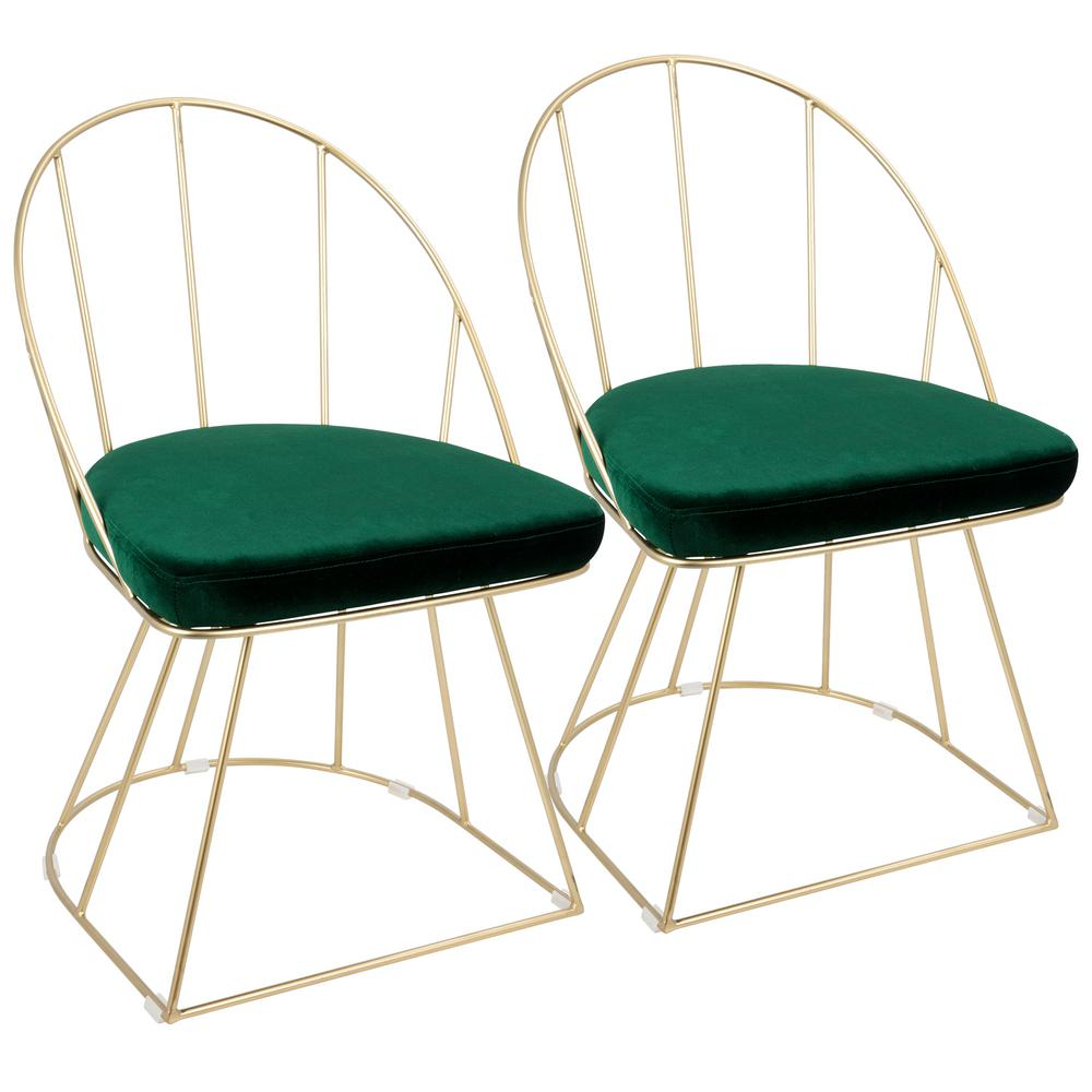 Lumisource Canary Contemporary Gold With Green Dining/Accent Chair In  Velvet (Set Of 2