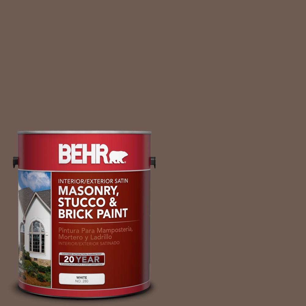 1 gal. #N210-6 Swiss Brown Satin Interior/Exterior Masonry, Stucco and Brick Paint