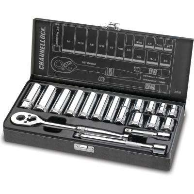 3/8 in. Drive SAE Standard Socket Set (18-Piece)