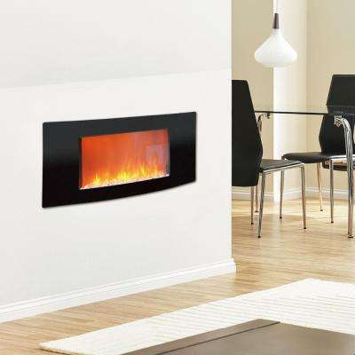 Callisto 35 in. Wall-Mount Electronic Fireplace with Curved Panel in Black
