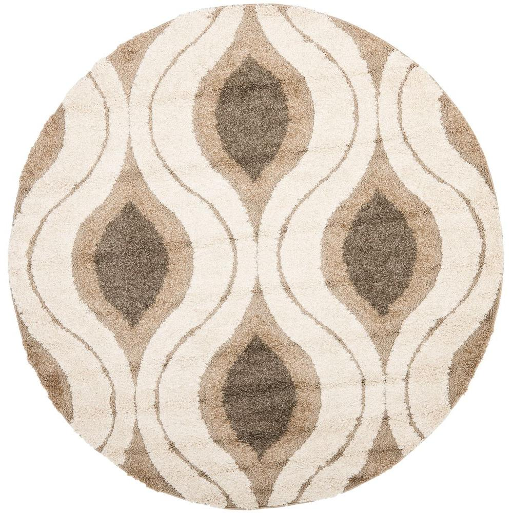 Florida Shag Cream/Smoke 4 Ft. X 4 Ft. Round Area Rug