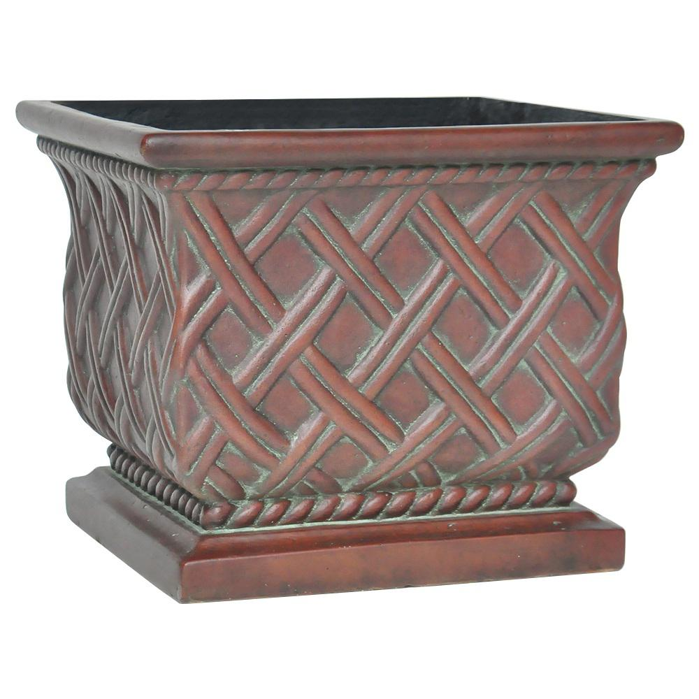 17.75 sq. in. Cast Stone Lattice Planter in Patina Green