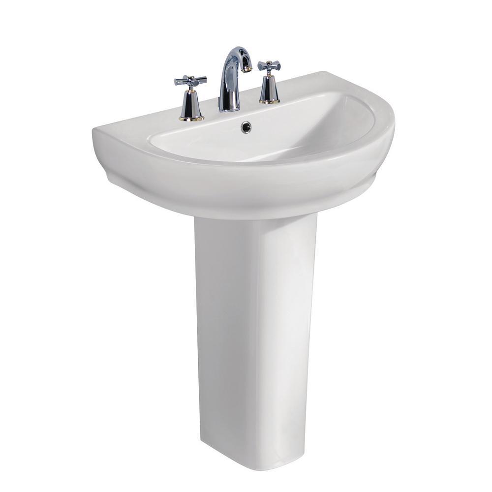 Harmony 650 25-1/2 in. Pedestal Combo in White