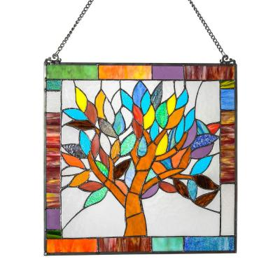 Multi Stained Glass Mystical World Tree Window Panel
