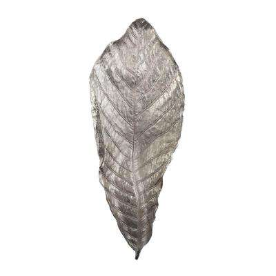 Colossal Silver Leaf 35 in. x 5 in. Aluminum Decorative Platter in Silver