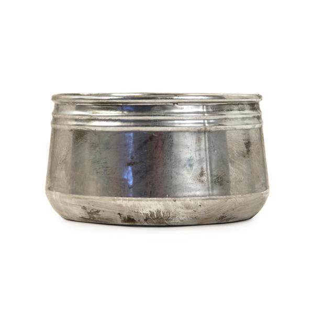 Large Distressed Metallic Can-shaped Bowl