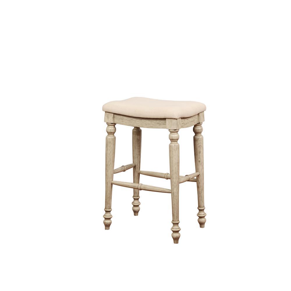 Linon Home Decor Marino 30 in. White Wash Backless Bar Stool