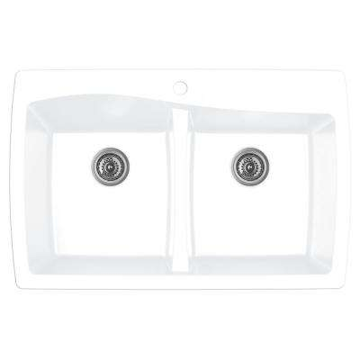 Drop-In Quartz Composite 34 in. 1-Hole 50/50 Double Bowl Kitchen Sink in White