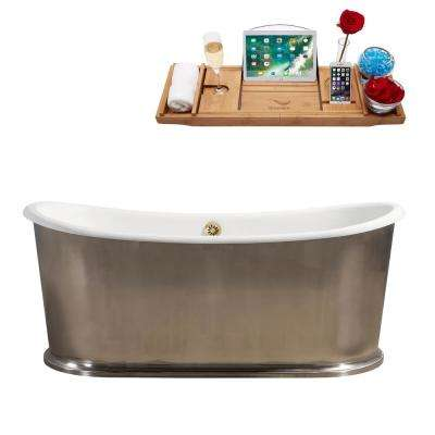 72 in. Cast Iron Flatbottom Non-Whirlpool Bathtub in Silver