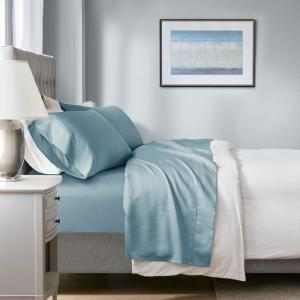 1000 Thread Count Heiq 4-Piece Blue Cotton Blend Solid King Anti-Microbial Sheet Set