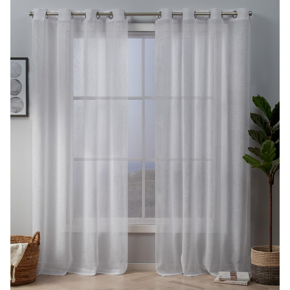 Exclusive Home Curtains Crest 54 In W X 84 L Sheer Grommet Top Curtain Panel Winter 2 Panels