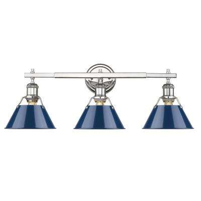 Orwell 3-Light Chrome with Navy Shade Bath Vanity Light