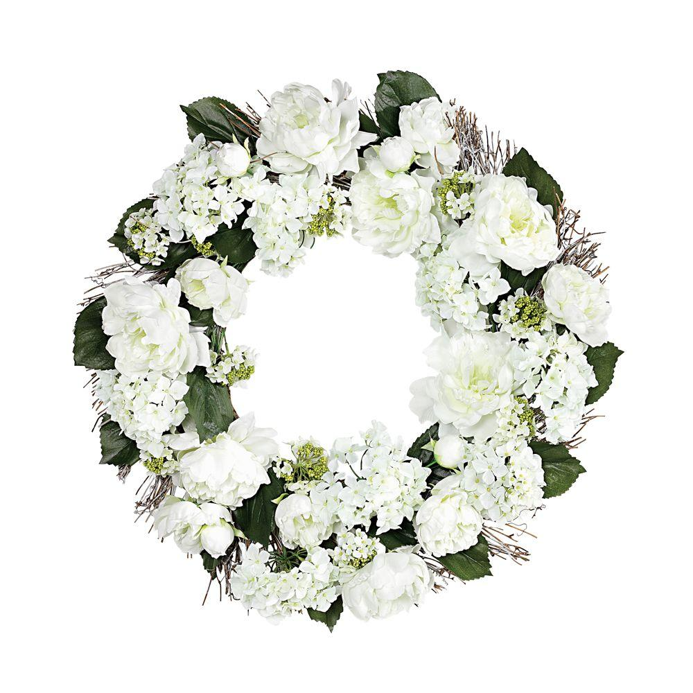 Home Decorators Collection 24 in. D White and Green Peony and Hydrangea Wreath