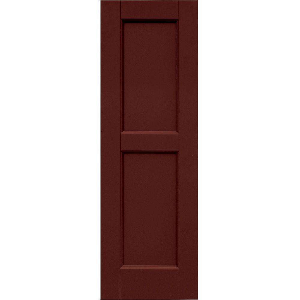 Winworks Wood Composite 12 in. x 37 in. Contemporary Flat Panel Shutters Pair #650 Board & Batten Red