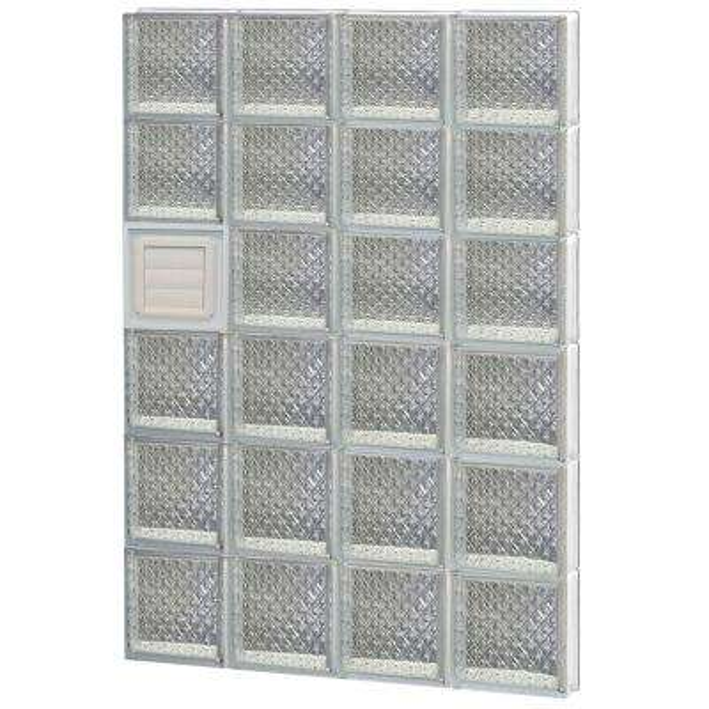 31 in. x 46.5 in. x 3.125 in. Frameless Diamond Pattern Glass Block Window with Dryer Vent