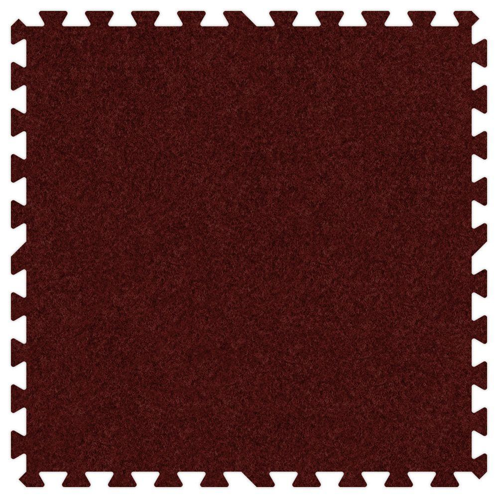 Groovy Mats Burgundy 24 in. x 24 in. Comfortable Carpet Mat (100 sq. ft. / Case)
