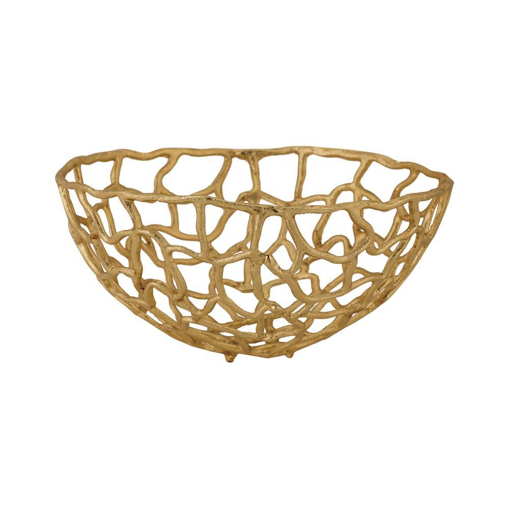 Free Form Medium Decorative Bowl in Gold