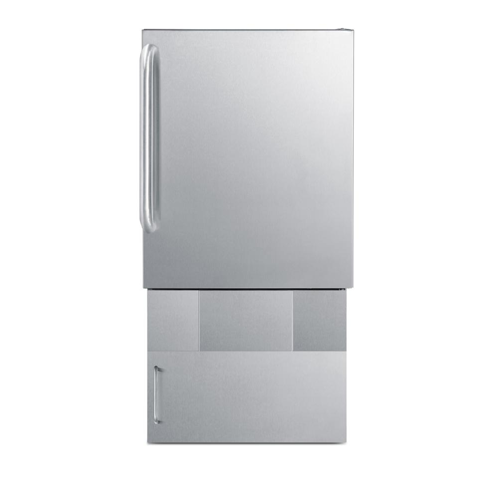 Summit Outdoor Icemaker For Built-In Use Under Ada Compliant Counters, In Complete Stainless Steel With Towel Bar Handle And Lower Base Storage Cabinet