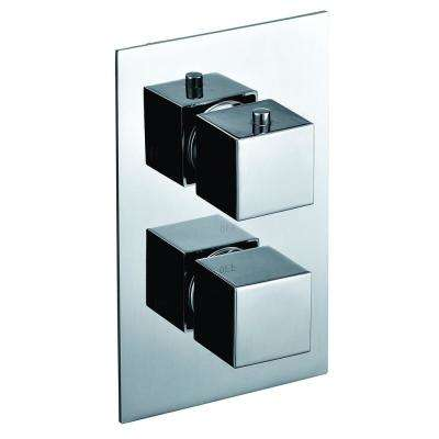 Thermostatic 2-Handle Shower Mixer with Temperature Control and Diverter in Polished Chrome