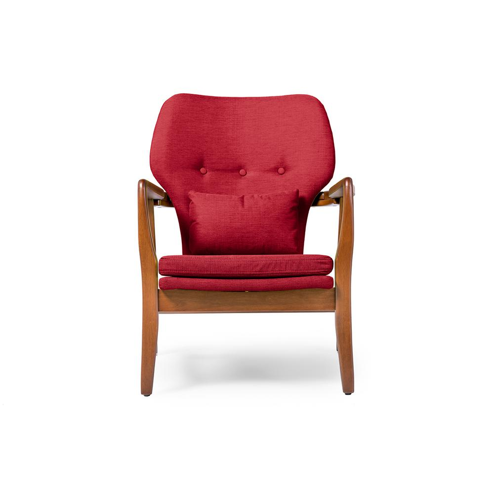 Rundell Mid-Century Red Fabric Upholstered Accent Chair