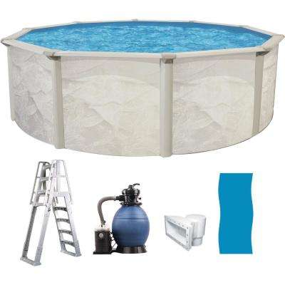 18 ft. Round 52 in. Deep Hard Side Metal Wall 6 in. Steel Uprights Above  Ground Swimming Pool Package