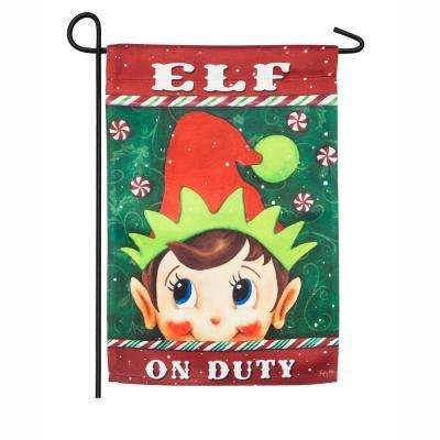 18 in. x 12.5 in. Elf on Duty Garden Suede Flag