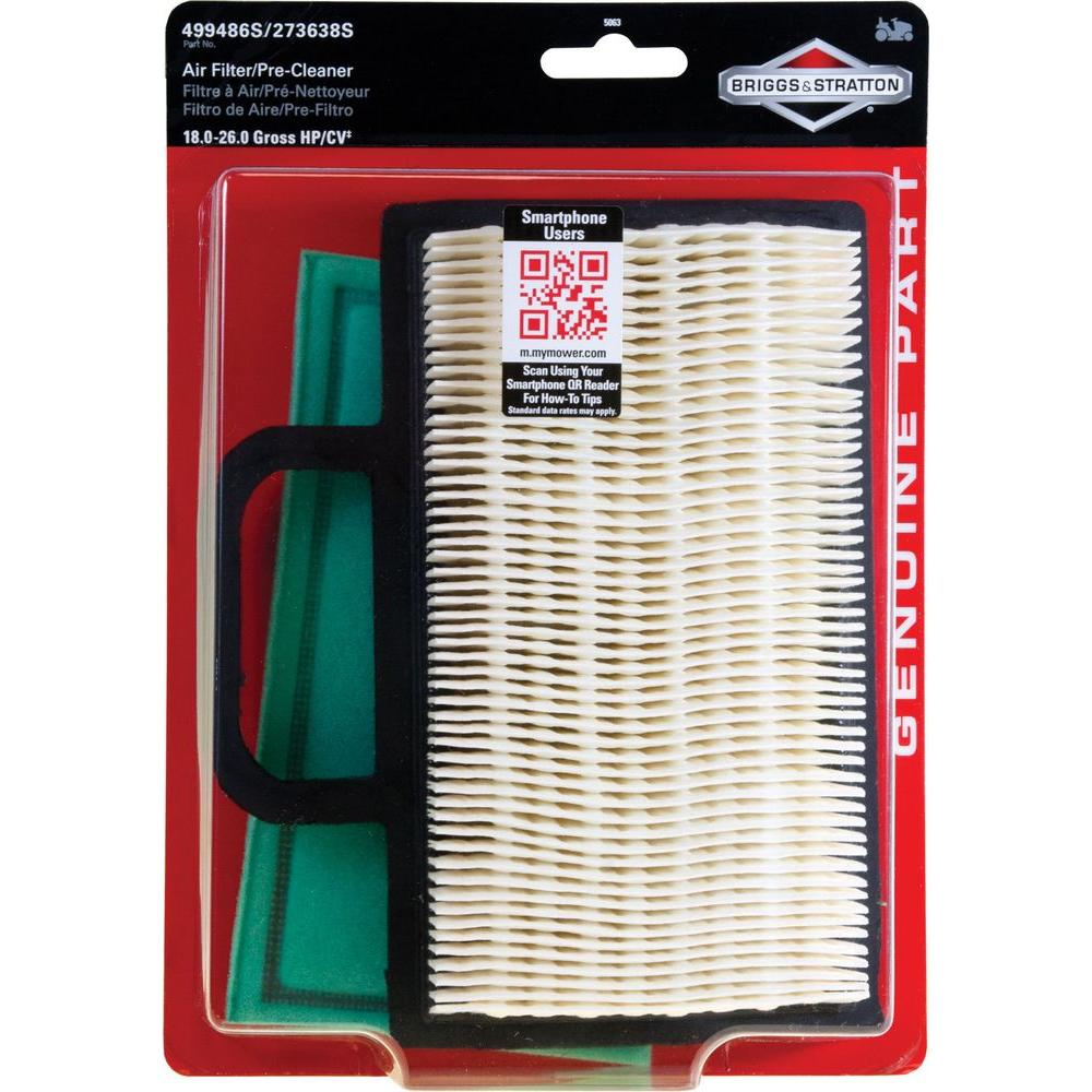 Briggs Stratton Air Filter With Pre Cleaner For Most 18 26 Gross Hp