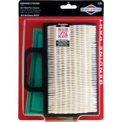 Air Filter with Pre-Cleaner for Most 18 - 26 Gross HP Intek V-twin Engines