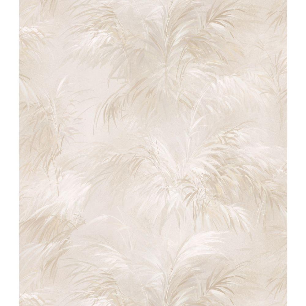 Bath Bath Bath III Beige Leaf Wallpaper Sample