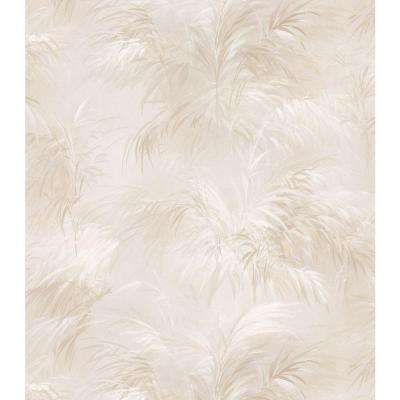 Palm Fern Beige Textures Pattern Vinyl Peelable Wallpaper (Covers 56.4 sq. ft.)
