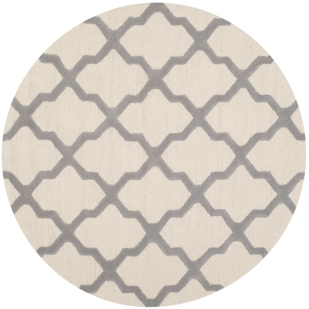 Cambridge Ivory/Silver 4 ft. x 4 ft. Round Area Rug