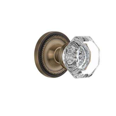 Rope Rosette 2-3/8 in. Backset Antique Brass Privacy Bed/Bath Waldorf Crystal Door Knob