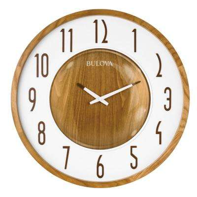22 in. H x 22 in. W 8-Piece Zebra Hardwood Case Round Wall Clock
