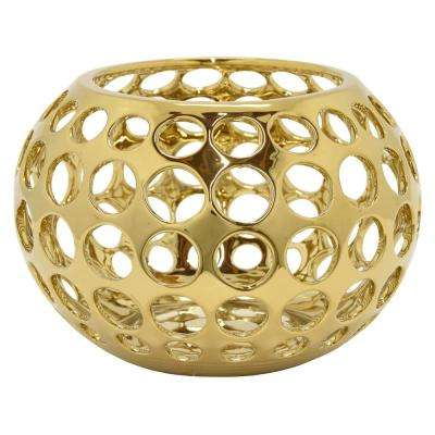 10.5 in. x 10.5 in. Decorative Pierced Gold Ceramic Bowl