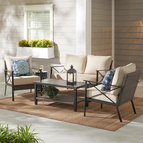 Northport 4-Piece Wicker Outdoor Patio Deep Seating Set with Tan Cushions and Coffee Table