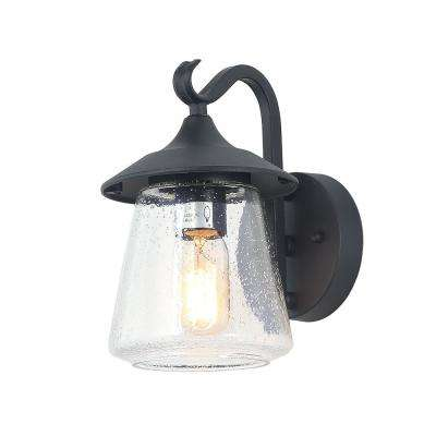 1-Light Traditional Black Outdoor Wall Mount Sconce with Seeded Glass