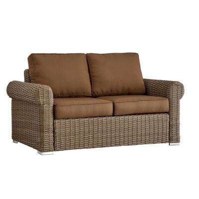 Camari Mocha Rolled Arm Wicker Outdoor Loveseat with Brown Cushion