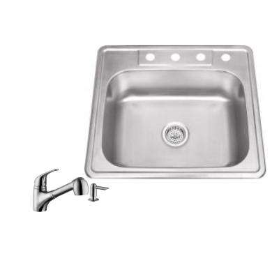 Drop-in 25 in. 4-Hole Stainless Steel Kitchen Sink in Brushed Stainless with Low Profile Pull Out Kitchen Faucet
