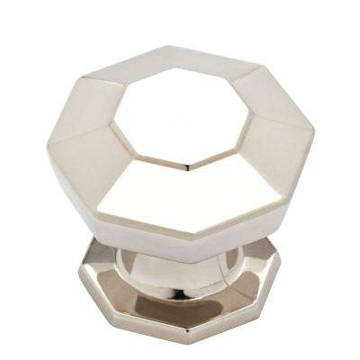 Faceted 1-3/16 in. (30mm) Polished Nickel Cabinet Knob