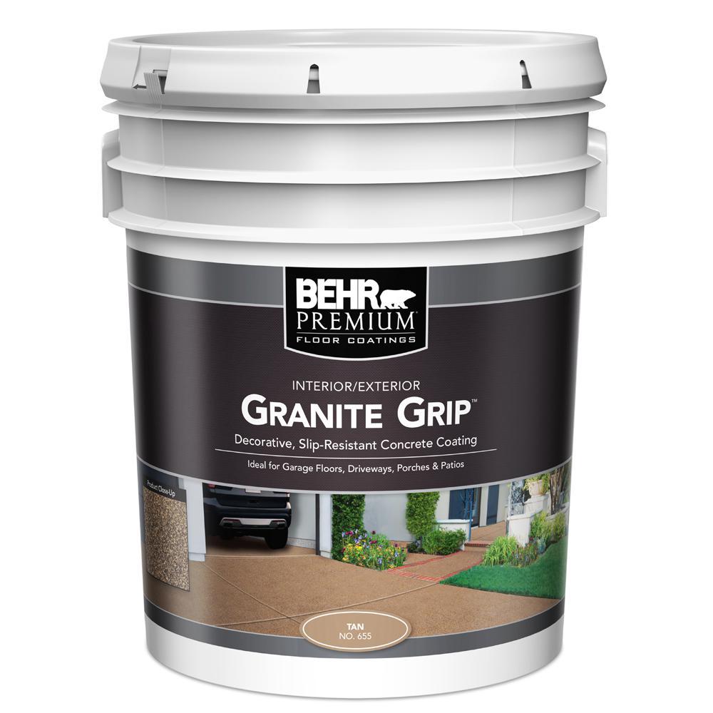 BEHR 5 gal. #65505 Tan Granite Grip Interior/Exterior Concrete Paint by BEHR
