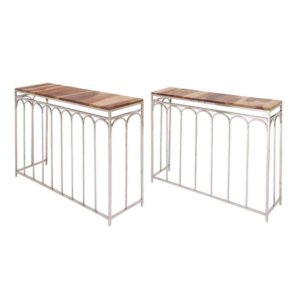 Litton Lane Modern Stainless Steel And Rosewood Nesting Console Tables (Set  Of 2)