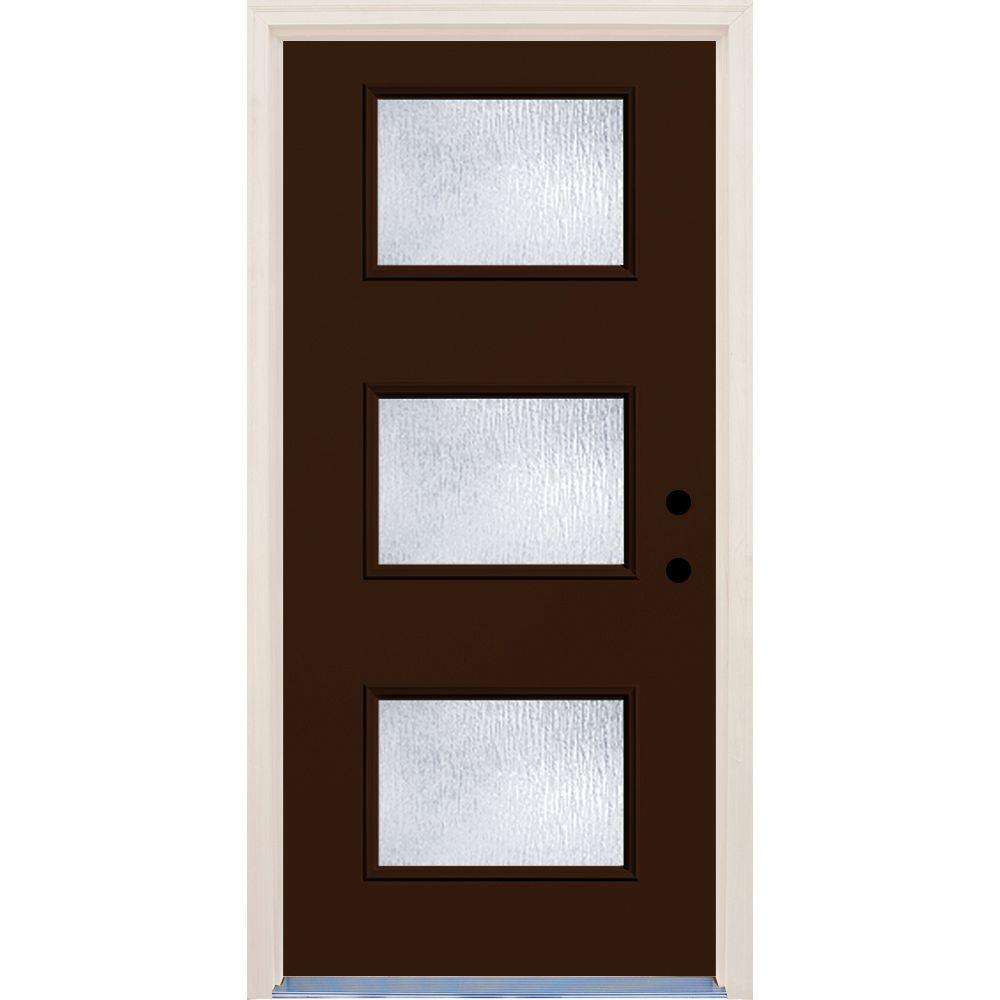 Builders Choice 36 in. x 80 in. Left-Hand Earthen 3 Lite Rain Glass Painted Fiberglass Prehung Front Door with Brickmould-HDX163061 - The Home Depot  sc 1 st  The Home Depot & Builders Choice 36 in. x 80 in. Left-Hand Earthen 3 Lite Rain ...