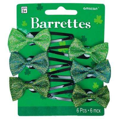 Green Bow St. Patrick's Day Hair Clips (6-Count, 4-Pack)